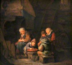 A Cottage Interior with Peasants