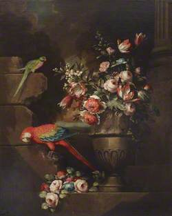 Still Life with Flowers in an Urn and Two Parrots