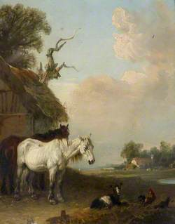 Landscape with Two Horses and a Goat by a Shed