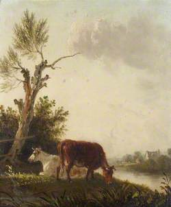Two Cows by a Stream