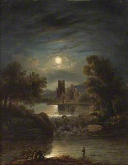 A Moonlit River Scene with a Ruined Abbey, a Waterfall and a Lone Angler