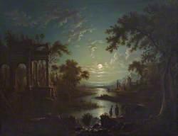 Moonlit River Scene with a Capriccio of Ruins