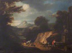 A Wooded Landscape with a Fountain and Travellers