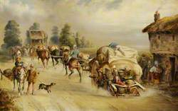 Laden Horse-Drawn Wagons on the Road