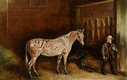 A Strawberry Roan Mule and Two Lurchers in a Stable, and a Stable Lad