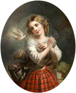 A Young Girl in Highland Dress with a Dove