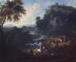 Classical Landscape with Herdsfolk by a Stream