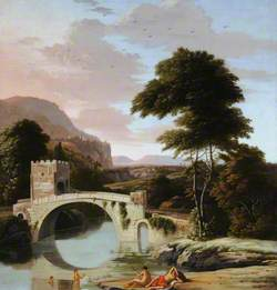 Figures Bathing by a River with a Fortified Bridge
