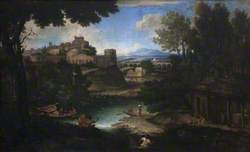 River Scene with Classical Buildings and Figures