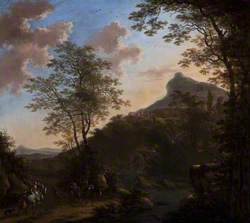 Hilly Landscape with Figures and Horses near a Bridge over a River