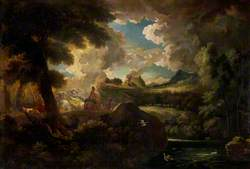 A Wooded Landscape with Figures and a Stormy Sky by the Sea Coast