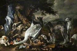 Swan and Other Dead Birds with Sporting Dogs in a Landscape