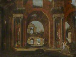 Classical Ruins, Horseman and Figures
