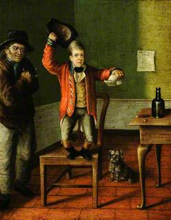 A Dwarf Standing on a Chair with a Man Standing alongside