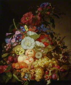 Still Life with Fruit and Flowers on a Stone Ledge
