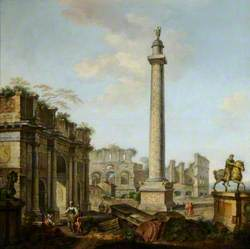 A Capriccio of Roman Ruins, with the Arch of Constantine, Trajan's Column, the Colosseum, and the Statue of Marcus Aurelius