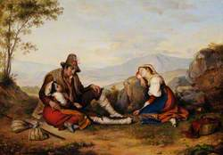 Weary Peasants Seated in an Italianate Landscape