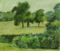 Landscape with Trees in a Park and Shrubbery in the Foreground