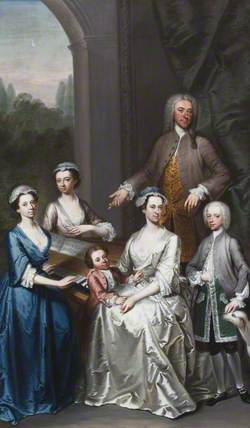 Sir Jacob Astley (1692–1760), 3rd Bt Astley of Hill Morton, with His Wife, Lucy L'Estrange (1699–1739), Lady Astley and Their Children: Isabella (1724–1741); Blanche (d.1741), Later Mrs Edward Pratt; the Reverend John Astley (d.1803); and Edward (1729–1802), Later 4th Bt