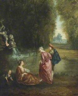 Figures in a Park near a Fountain