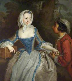A Girl with a Birdcage and a Suitor