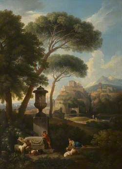 A Classical Landscape with an Urn, Shepherds and Goats