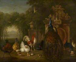 Peacock and Domestic Poultry near a Statue in a Garden
