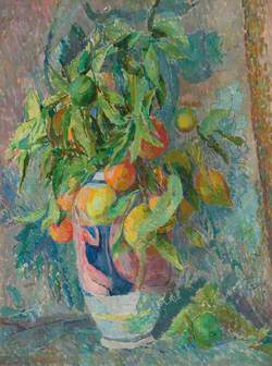 Still Life of Fruit and Leaves in a Coloured Vase