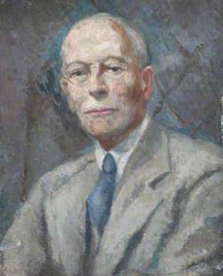 Portrait of a Man Wearing a Blue Tie