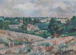 A View of Cornfields with a Village in the Distance