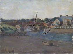 River Scene with a Bridge and Buildings