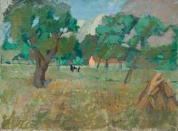 A Field with Trees and a Cow
