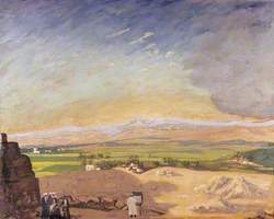 Cairo from the Pyramids with the Artist Painting