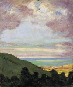 South-West View of the Sea from a Cliff Top at Port Lympne