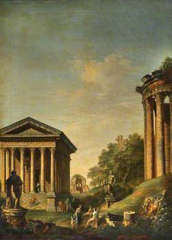 Architectural Capriccio with the Maison Carré and the Temples of Vesta and Minerva Medica