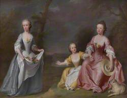 Conversation Piece of Sarah Selman (b.1733), and Helena Selman (b.1735), with One of Their Dighton Cousins