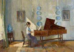 Figure Playing the Harpsichord in the Blue Porcelain Room, Fenton House, Hampstead