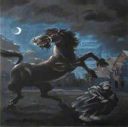 'Lady of Title Removing Stallion from Croquet Lawn: Midnight – by the Master of the Horrid School of Teutonic Nights'