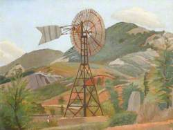 Mountain Landscape with a Windmill