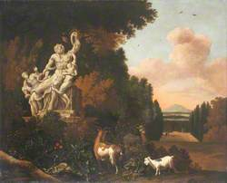 Landscape with Goats and a Marble Sculpture of Laocoön