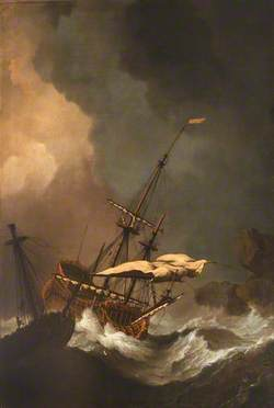 A Storm: Two English Ships Being Driven Ashore onto Rocks