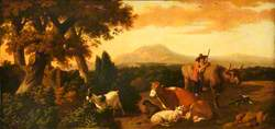 Pastoral Scene with Shepherd and a Sheep, Goat and Cows