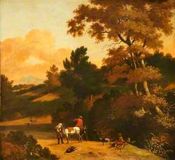 Landscape with Figures, Cattle, Sheep and a Castle in the Distance