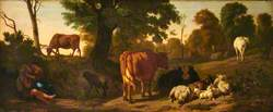 Landscape with Cattle, Sheep, a Horse, a Goat and a Courting Couple of Rustics