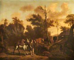 Landscape with a Herdsman Leading a Staling Mule, a Goat, Dog, Cattle and Sheep