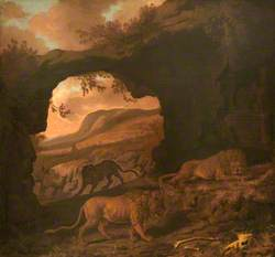 A Pair of Lions with a Leopard in a Cave