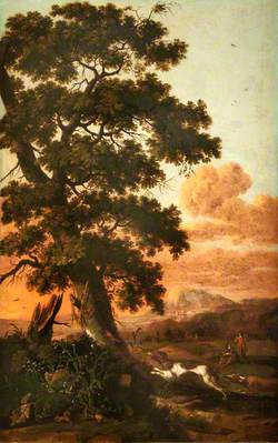 Landscape with a Large Tree, Figures and Dogs
