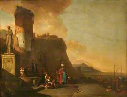 Capriccio of a Fort by the Sea, with Orientals and an Antique Statue
