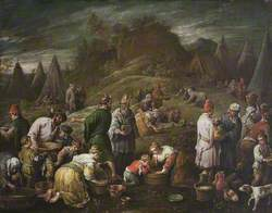 The Israelites Gathering Manna