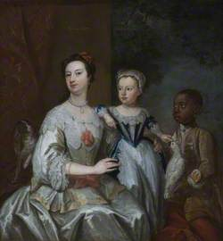 Lady Grace Carteret (1713–1755), Countess of Dysart with a Child (Lady Frances Tollemache?, 1738–1807), and a Black Servant, Cockatoo and Spaniel